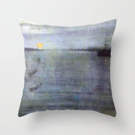 James McNeill Whistler Nocturne Blue and Gold Southampton Water Throw Pillow