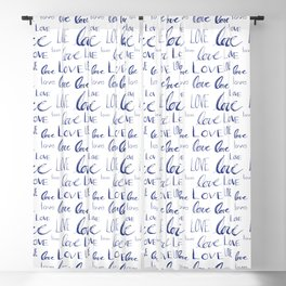 Words of Love in Blue Blackout Curtain