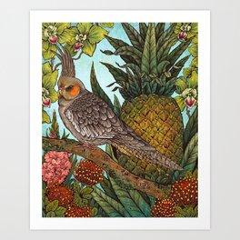 Cockatiel And Pineapple Art Print