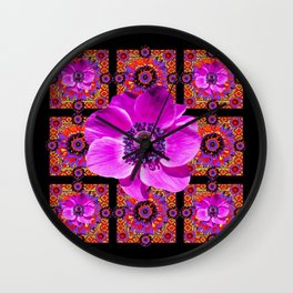 PURPLE ANEMONE FLOWER BLACK PATTERN Wall Clock