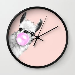 Bubble Gum Black and White Sneaky Llama in Pink Wall Clock