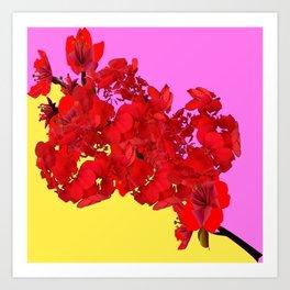 MODERN LILAC-YELLOW RED FLOWERS ART Art Print