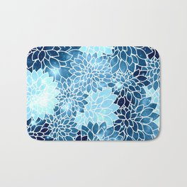 Space Dahlias Blue Ice Bath Mat