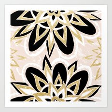 Modern black gold pink abstract floral pattern Art Print