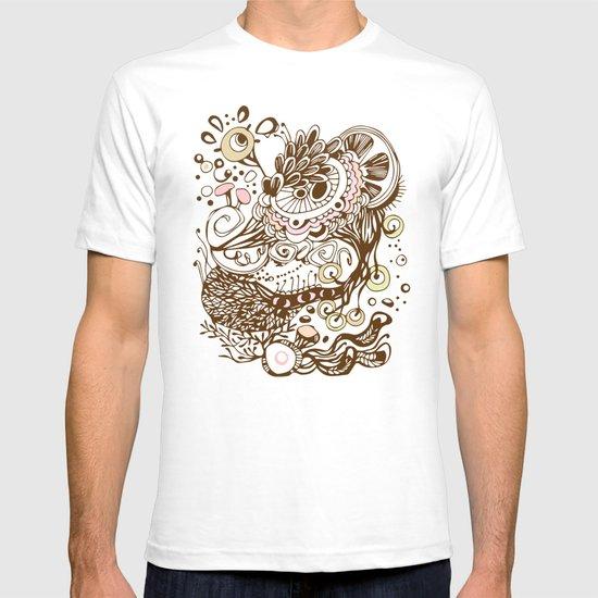 Zentangle green flower roots doodle T-shirt