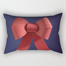 Big red glitter bow ribbon on the blue Rectangular Pillow