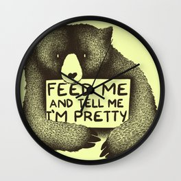 Feed Me And Tell Me I'm Pretty (Yellow) Wall Clock