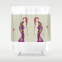 twins Shower Curtains featuring Twins by Filipa Silva