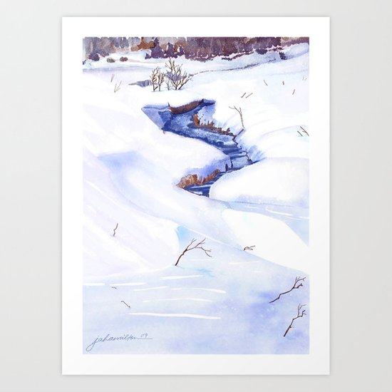 Open Stream In Winter Art Print