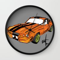 mustang Wall Clocks featuring Mustang by Portugal Design Lab