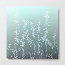 WILDFLOWERS - GREEN OMBRE Metal Print