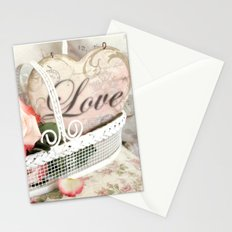 Shabby Chic Romantic Cottage Basket of Roses Love Heart Decor Stationery Cards