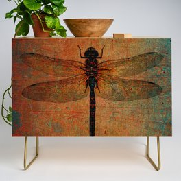 Dragonfly On Orange and Green Background Credenza