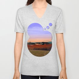 Countryside panorama in beautiful sunset colors | landscape photography Unisex V-Neck