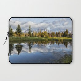 Grand Tetons and Trees Reflected in Snake River at Schwabacher's Landing Laptop Sleeve