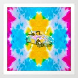 70s hippie peace and love tie die Beetle Art Print