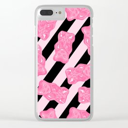 Jelly Beans & Gummy Bears Pattern - Pink and Black Clear iPhone Case