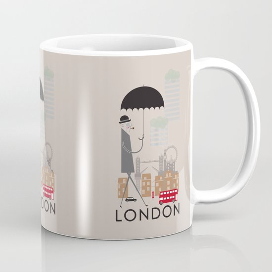 London - In the City - Retro Travel Poster Design Mug