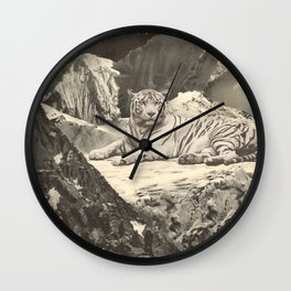 Giant White Tiger in Mountains Wall Clock
