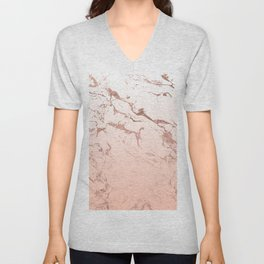 Pink blush white ombre gradient rose gold marble pattern Unisex V-Neck