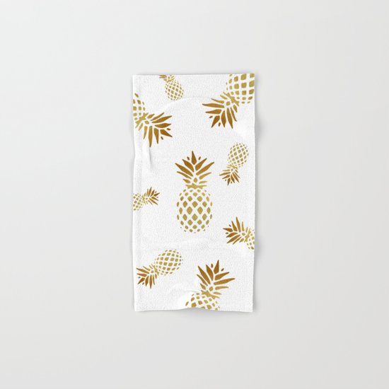 golden pineapple hand bath towel by pati designs photography society6
