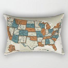 USA Vintage Map Rectangular Pillow