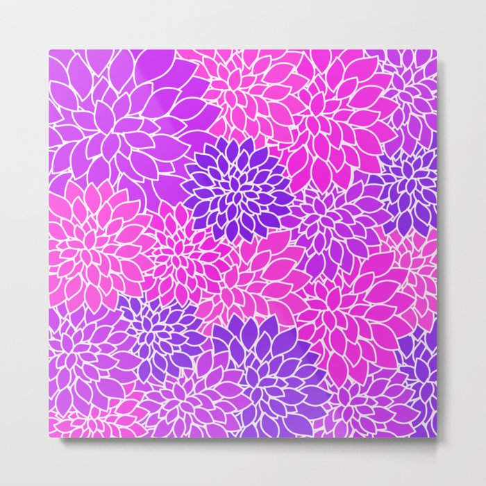 Shades Of Purple - Bright Floral Pattern - Flower Art Metal Print