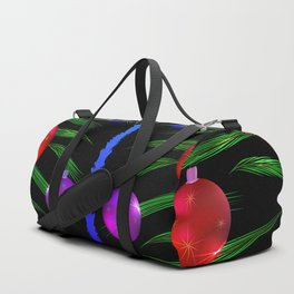 Christmas balls and decorations on pine branches. Duffle Bag