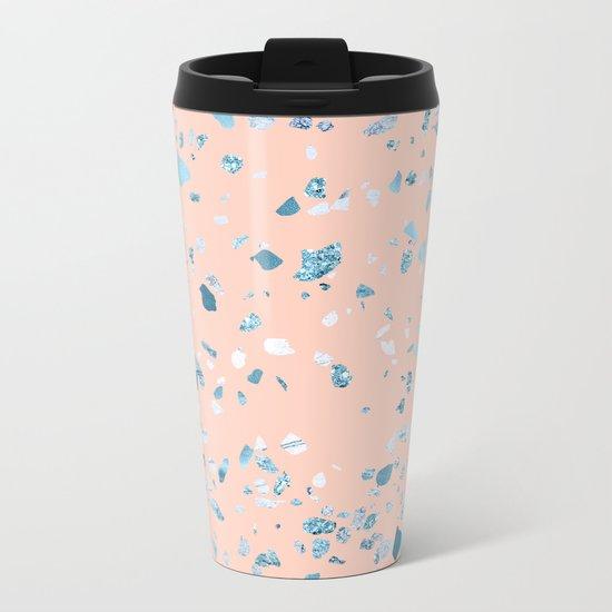 Turquoise Shimmery Terrazzo on Pink Metal Travel Mug