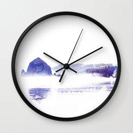 Haystack Rock watercolor Wall Clock