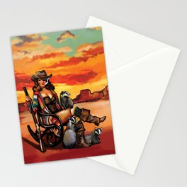 """""""Tequila Sunrise"""" Western Pinup Girl With A Rifle & Badger Stationery Cards"""