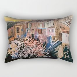 Memories of an ancient village  with  sweet  fragnance of Almond blossom Acrylic  Rectangular Pillow