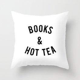 Books and Hot Tea Throw Pillow