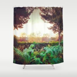 Instagram Summer Garden Irish Landscape Green and Amber Photography Print Shower Curtain