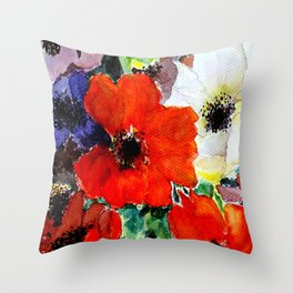 colorful poppies Throw Pillow