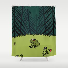 Frog On A Forest Field Shower Curtain