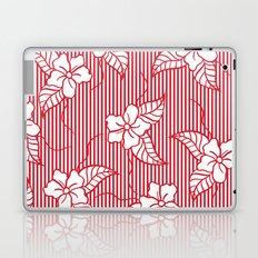 Fashion red flame scarlet white floral hand drawn geometric stripes pattern Laptop & iPad Skin