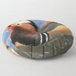 Beautiful Mandarin Duck at the Pond Floor Pillow