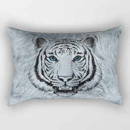White Tiger on Frost glass background Rectangular Pillow