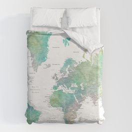 Watercolor world map in muted green and brown Duvet Cover