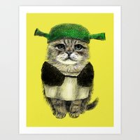 shrek Art Prints featuring Shreky Cat by Anna Shell