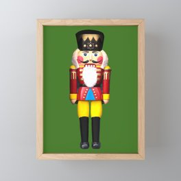 Nutcracker Merry Christmas Santa Claus green Framed Mini Art Print