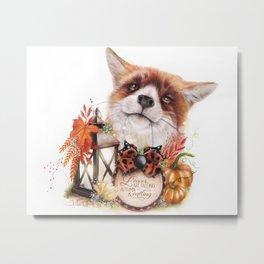 Autumn Greetings Fox - Sheena Pike Art & Illustration Metal Print
