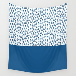 Triangles Blue Wall Tapestry
