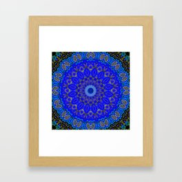 Mandala in Cobalt And Gold Framed Art Print