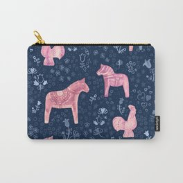 Swedish Dala Horse and Rooster Blue and Pink Pattern Carry-All Pouch