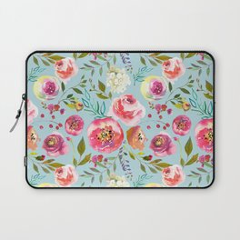 pink and blue watercolor peonies Laptop Sleeve