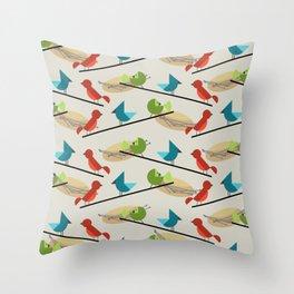 Mid Century Modern Birds Throw Pillow