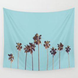 palm trees turquoise Wall Tapestry