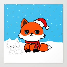 A Fox in the Snow Canvas Print